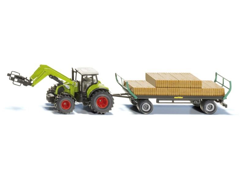 siku spielfahrzeug traktor mit ballengreifer und anh nger. Black Bedroom Furniture Sets. Home Design Ideas